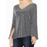 Two by Vince Camuto NEW Gray White Womens Size Large L Striped Blouse
