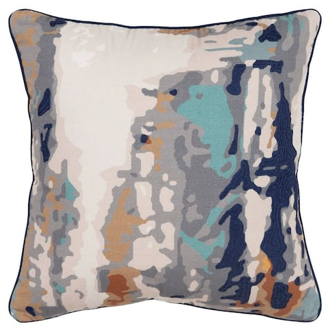 """Connie Post by Rizzy Home Gray/Navy Impressionistic Pattern 20""""X20"""" Throw Pillow"""