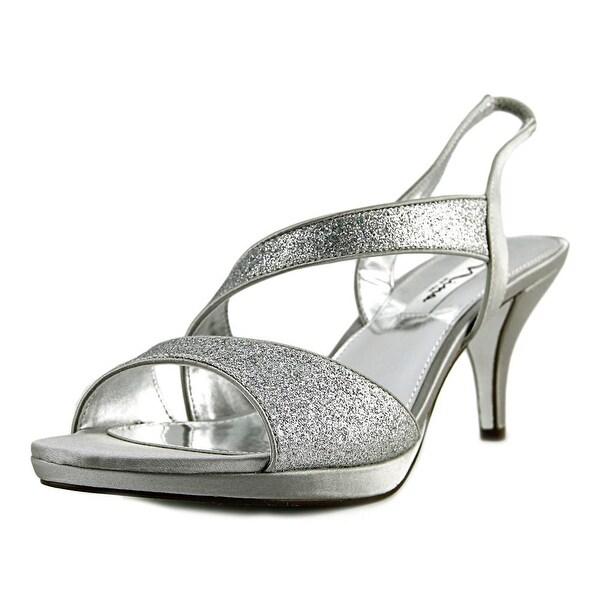 Nina Newark Women Open Toe Canvas Silver Sandals