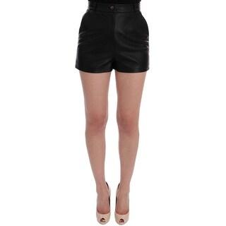 Dolce & Gabbana Black Leather High Waist Shorts