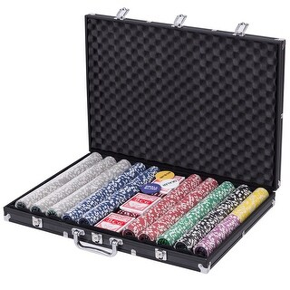 Gymax 1000 Chips Poker Chip Set 11.5 Gram Holdem Cards Game with Black Aluminum Case