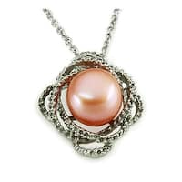 Pearl in Flower Design Stainless Steel Pendant - 18 inches