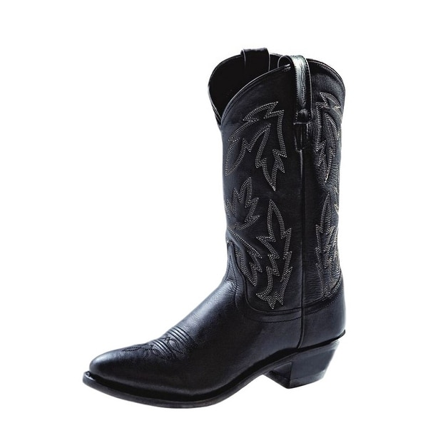Old West Cowboy Boots Womens Narrow Round Toe Neolite Black
