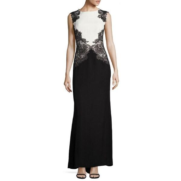 Tadashi Shoji Colorblock Lace Sleeveless Evening Gown Dress Black White 6