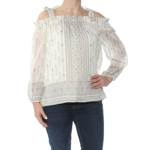 VINCE CAMUTO Womens Ivory Cold Shoulder Metallic Long Sleeve Square Neck Blouse Top Size: S