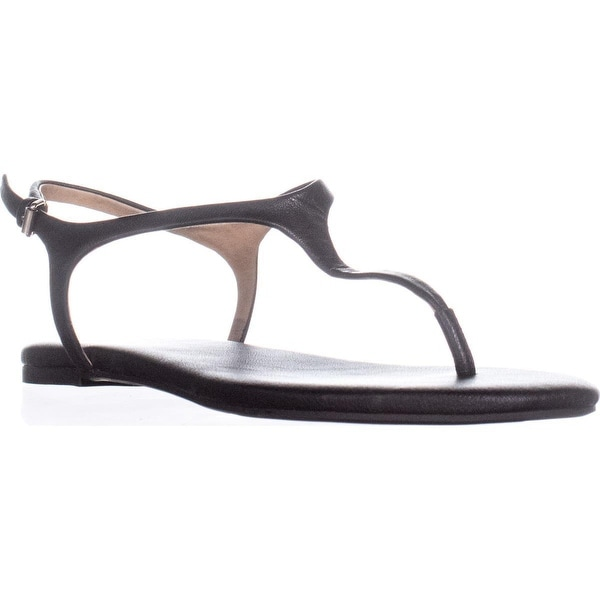 Splendid Mason Buckle T Strap Flat Sandals, Black