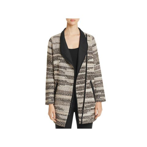 Nic + Zoe Womens Visionary Sweatercoat Striped Long Sleeve