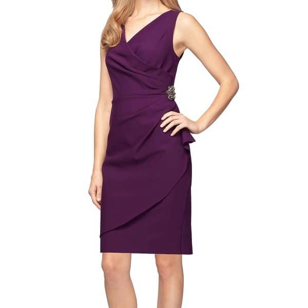 Shop Alex Evenings Aubergine Purple Womens Size 4 Surplice Sheath Dress Overstock 26988249