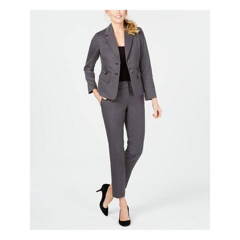 LE SUIT Gray Blazer Straight leg Pant Suit 4
