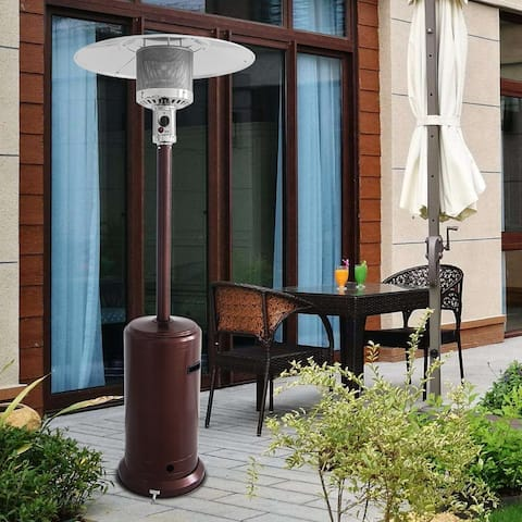Outdoor Patio Heater with Wheels,46000BTU Outdoor Courtyard Gas Umbrella Heater / Bronze - 13500W 46000BTU