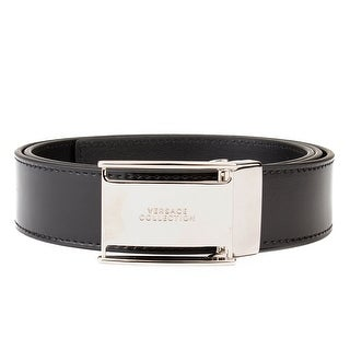 Versace Collection Men's Stainless Steel Buckle Leather Belt Black (2 options available)