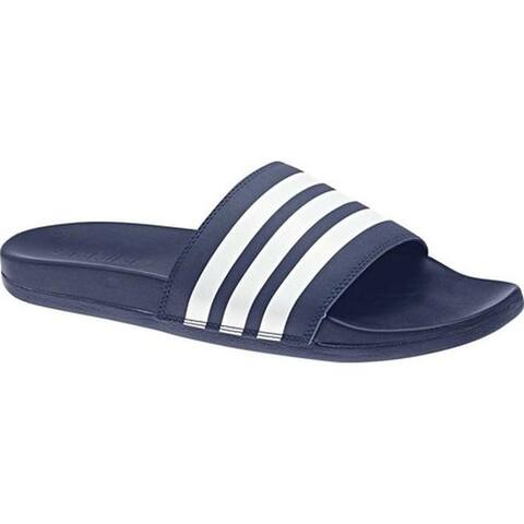 adidas Men's adilette Cloudfoam Plus Stripes C Sandal Dark Blue/White/Dark Blue