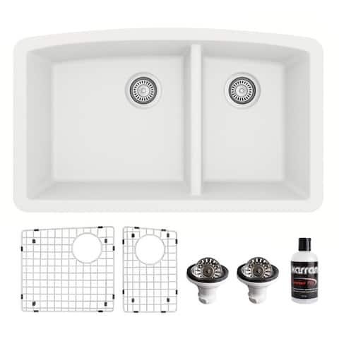 Karran Undermount Quartz 32 in. 60/40 Double Bowl Kitchen Sink Kit