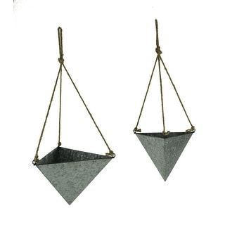 Galvanized Topsy-Turvy Metal Triangle Hanging Planters Set of 2 - 8.5 X 12 X 10.5 inches