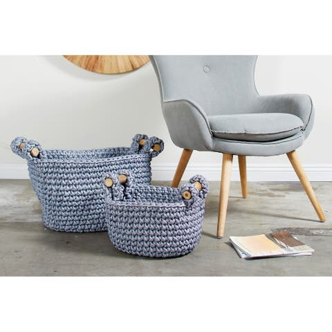 Grey Polyester Eclectic Storage Basket (Set of 2) - 20 x 18 x 13Round