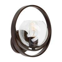 """Forte Lighting 2649-01 1-Light 10"""" Tall Wall Sconce with Clear Globe Glass Shade and Decorative Ring - Antique Bronze - n/a"""