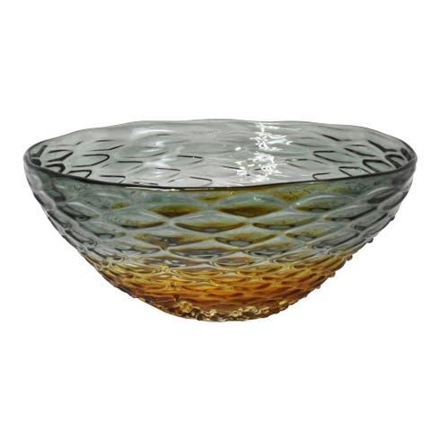 "12.25"" Purple and Amber Honeycomb Design Art Glass Bowl"