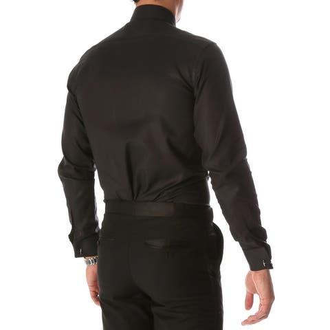 Ferrecci Men's Venice Slim Fit Pique Lay Down Collar Shirt
