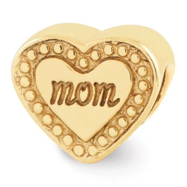 Sterling Silver Reflections Gold-plated Mom Heart Bead (4mm Diameter Hole)