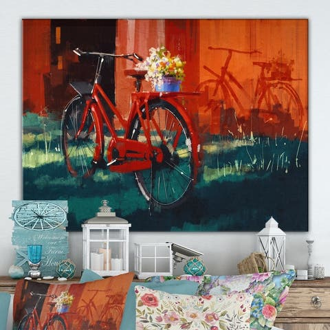 Designart 'Vintage bicycle with bucket' Cottage Canvas Wall Art