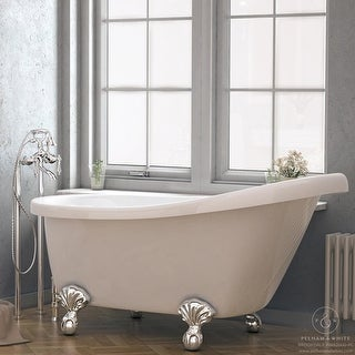 Pelham & White Luxury 60 Inch Clawfoot Slipper Tub with Chrome Ball and Claw Feet