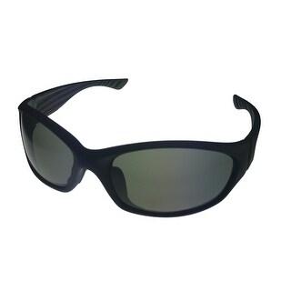 Timberland Sunglass Matte Black Plastic Wrap Smoke Lens TB7123 2N - Medium