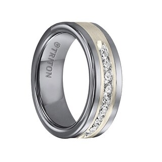 REGINALD Flat Tungsten Carbide Wedding Band Satin Finished Silver Inlay Channel Set Diamonds .5 TCW by Triton Rings - 8mm