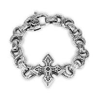316L Steel Cast Bracelet Large Celtic Cross With Engraved Figure 8 Links (33 mm) - 8.5 in
