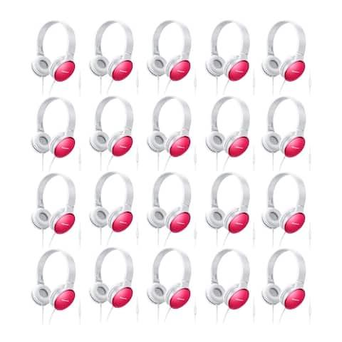 Panasonic RP-HF300M-P On-Ear Stereo Headphones with Mic (Pink, 20-Pk)