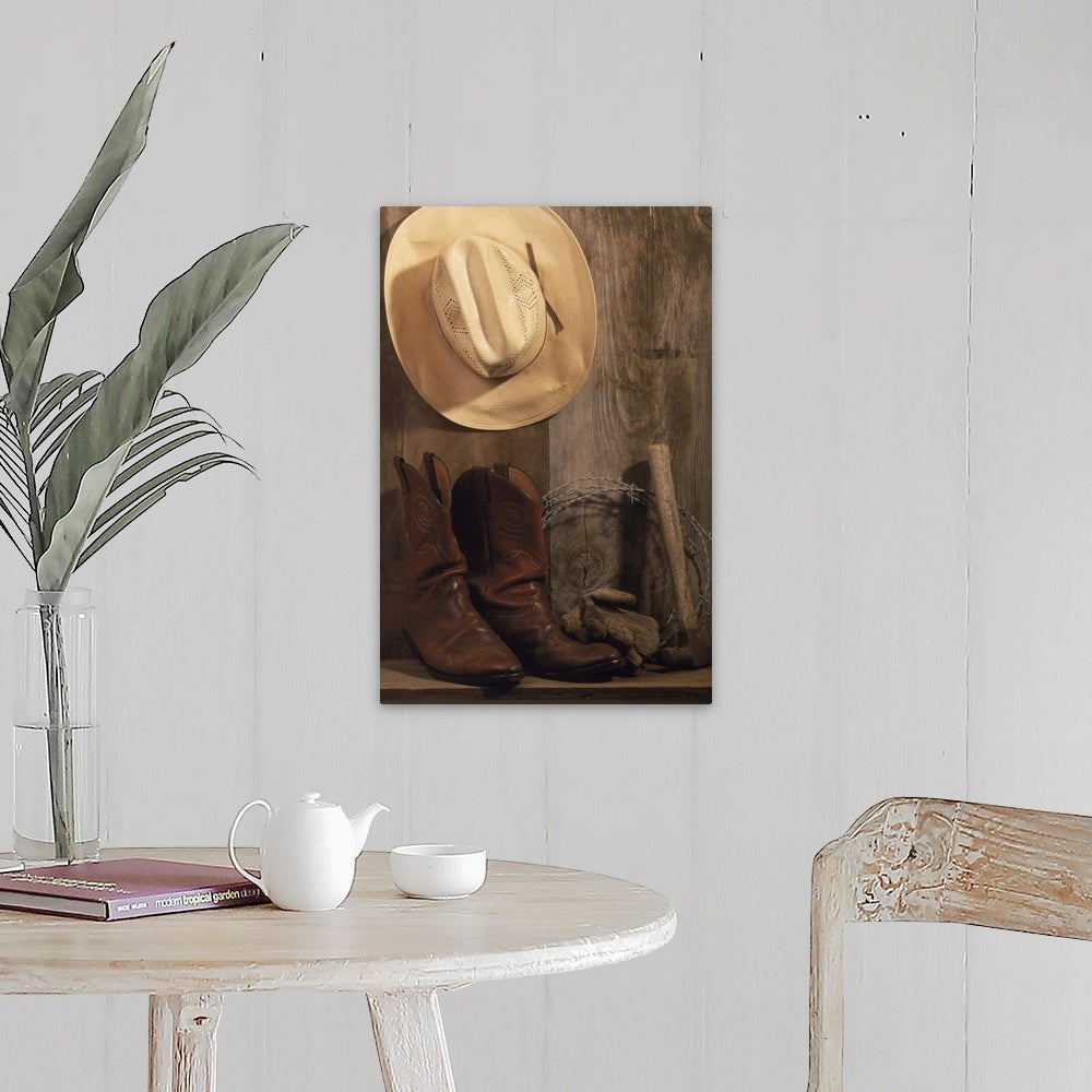 Shop For Cowboy Hat And Boots Barbed Wire And Hammer Canvas Wall Art Get Free Delivery On Everything At Overstock Your Online Art Gallery Store Get 5 In Rewards With Club O 16469843