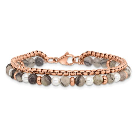 Chisel Stainless Steel Polished Rose IP with Picasso Jasper with 6.5 Inch Bracelet