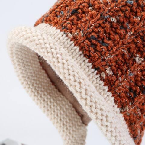 Korean New Double Plus Fluffy Ball Wool Hat Women's Earmuffs Warm Knit Hat
