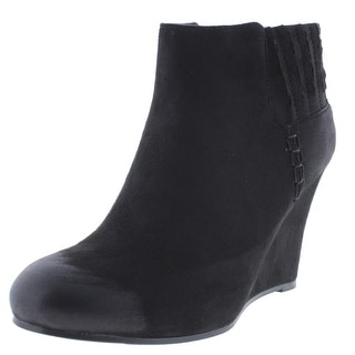 Qupid Womens Sienna Faux Suede Wedge Booties