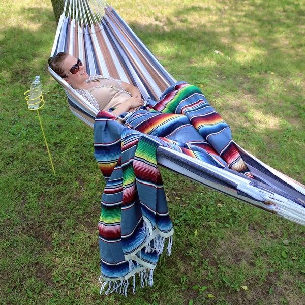Sunnydaze Extra-Large Multicolor Mexican Serape Hammock Blanket - 83-Inch Long