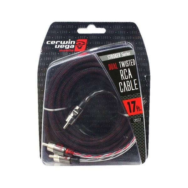 Cerwin Vega Stroker Series 2-channel RCA cable 17ft dual twisted metal ends
