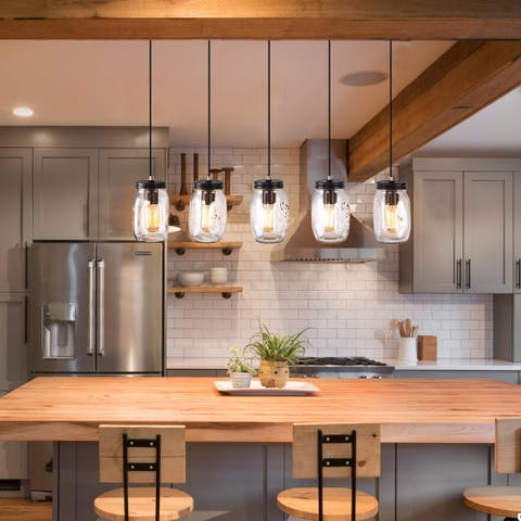 5-Light Liner Chandelier with Mason Jar clear glass