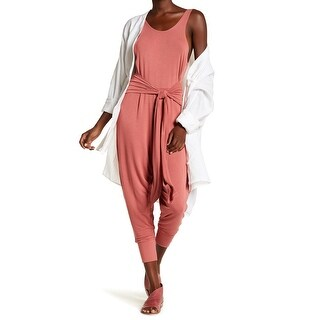 Free People Pink Womens Size Small S Scoop Neck Tie-Front Jumpsuit