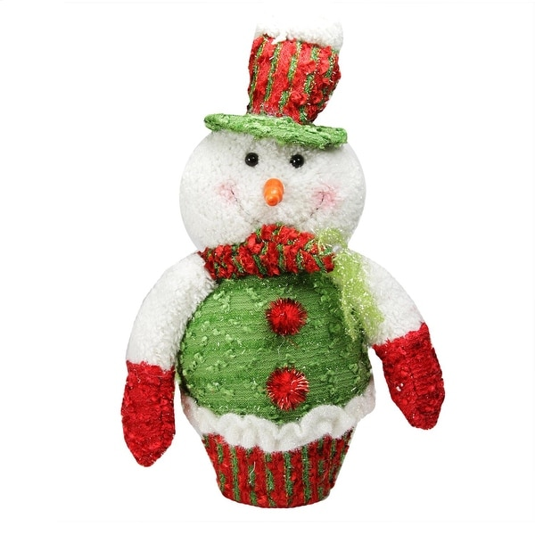 """12.5"""" Red, White and Green Plush Glittered Cupcake Snowman Christmas Figure Decoration"""