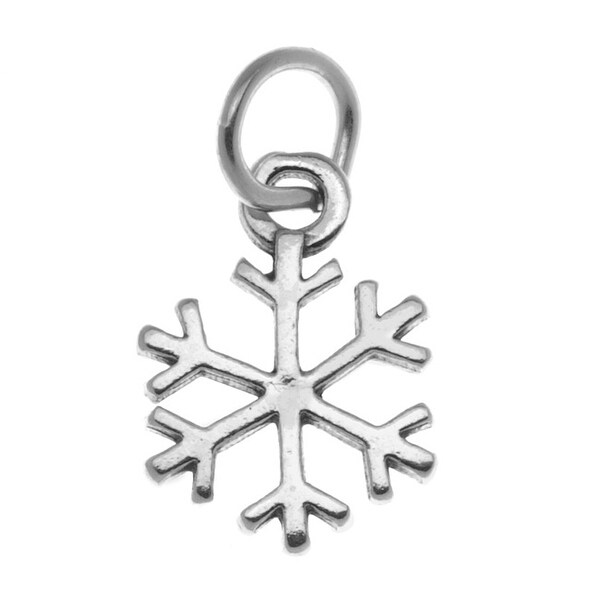 Sterling Silver Charm, Winter Snowflake 13x16mm, 1 Piece, Silver