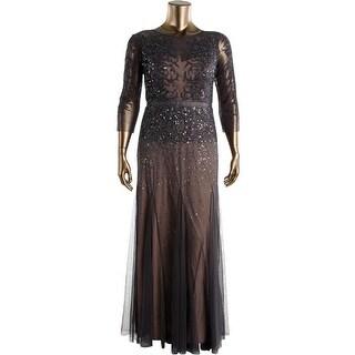 Adrianna Papell Womens Mesh Sequined Evening Dress - 10