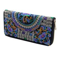 Women Embroidered Flower Design Zipper Wallet Purse Pouch Money Handbag