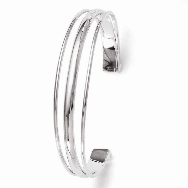 Sterling Silver Polished Fancy Slip-on Bangle