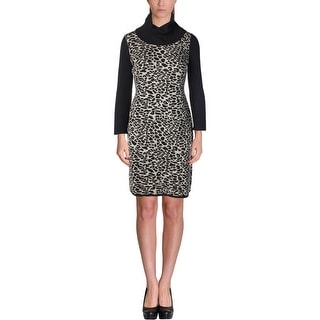 Calvin Klein Womens Sweaterdress Colorblocked Cowl Neck