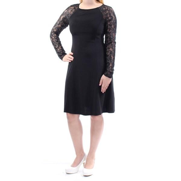 Shop American Living Womens Black Lace Long Sleeve Jewel Neck Knee