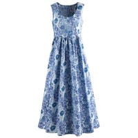 Catalog Classics by April Cornell Sleeveless Maxi Dress - Blue Floral Print