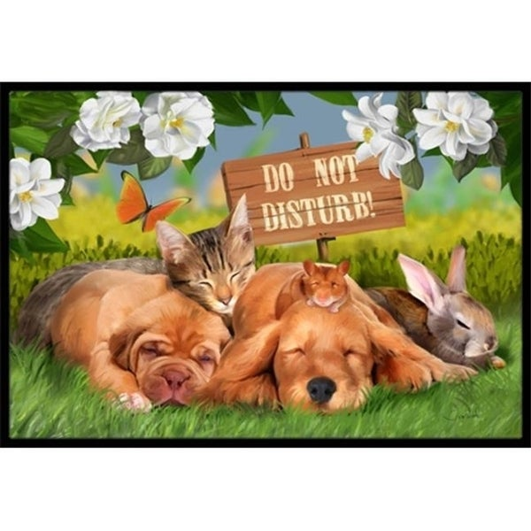 Carolines Treasures PTW2048MAT Golden Retriever And Sharpei Do Not Disturb Indoor & Outdoor Mat 18 x 27 in.