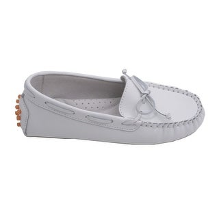 L'Amour Little Big Kids Girls White Bow Leather Moccasin 11-4 Kids
