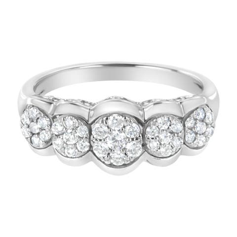 .925 Sterling Silver 1/2ct TDW Lab-Grown Diamond 5 Flower Ring (F-G ,VS2-SI1) - Size 7