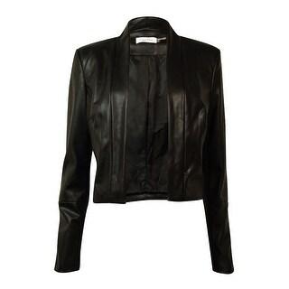 Calvin Klein Women's Faux-Leather Jacket (M, Black) - Black