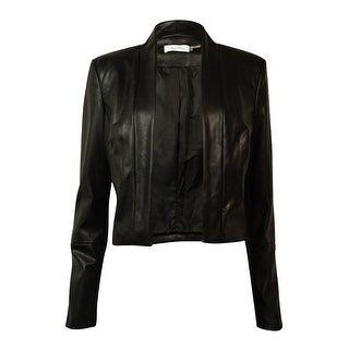 Calvin Klein Women's Faux-Leather Jacket - Black (2 options available)